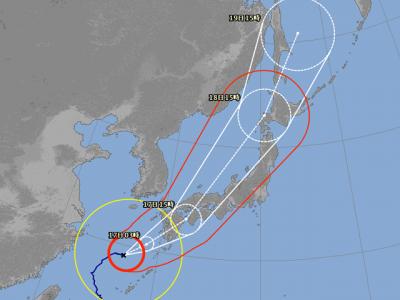 台風18号進路予想(9月16日15時現在)