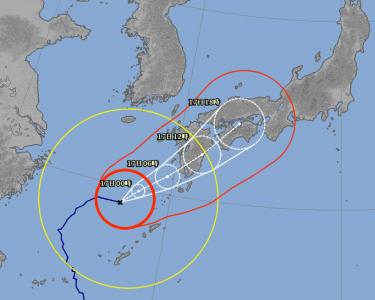 台風18号進路予想(9月16日18時現在)拡大