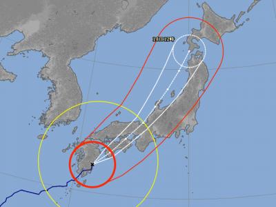 台風18号進路予想(9月17日14時現在)