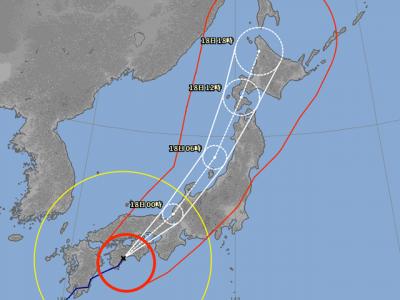 台風18号進路予想(9月17日18時現在)拡大