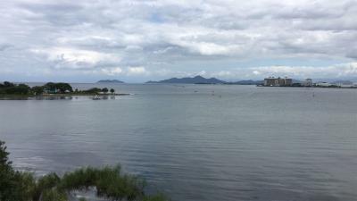 琵琶湖大橋西詰めから眺めた北湖(9月18日13時15分頃)