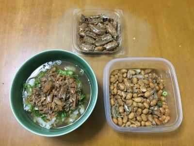 今夜はスゴモロコディナー!! お茶漬けと雑魚豆と発掘甘露煮