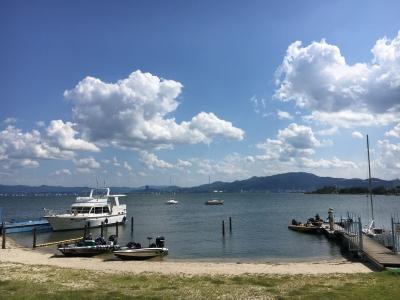 やっと夏らしい天気になった琵琶湖南湖南エリア(8月19日15時頃)