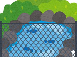 立入禁止の溜め池
