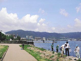 琵琶湖岸のゴミを拾うボランティア