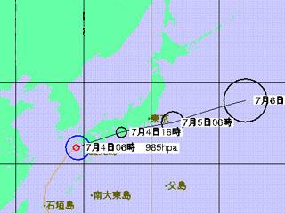 台風3号進路予想(7月4日6時発表)