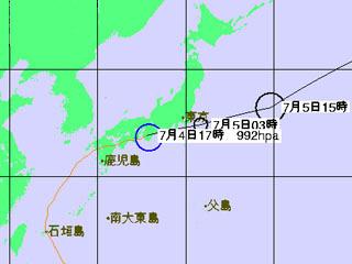 台風3号進路予想(7月4日18時発表)