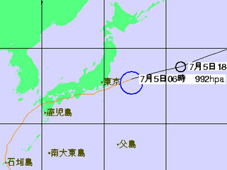 台風3号進路予想(7月5日6時発表)