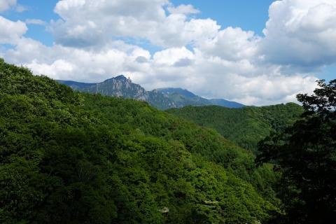 17瑞牆クリスタルライン遠くに瑞牆山