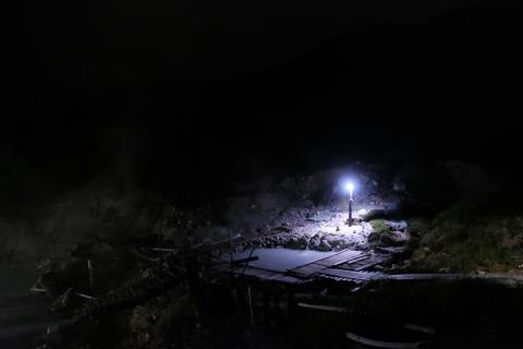 28夜の藤七温泉彩雲荘露天風呂