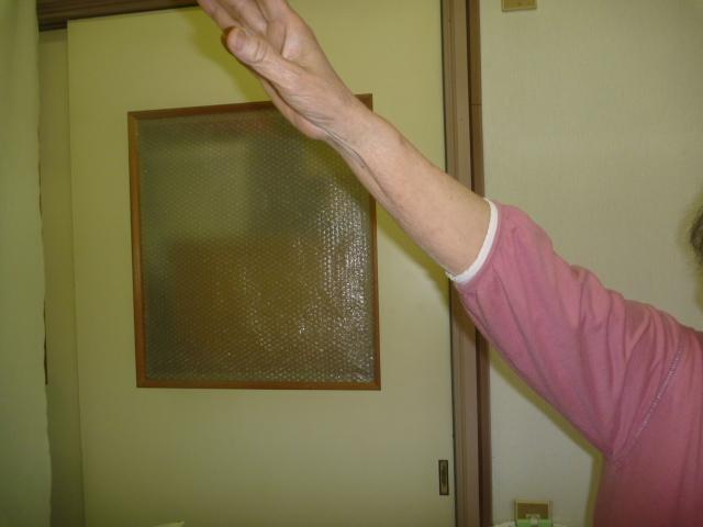 施療後 右肩外転挙上での肩の痛み和らぎ上げやすくなる