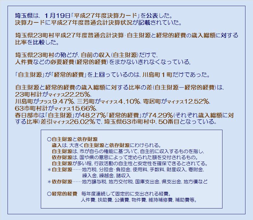 埼玉県23町村平成27年度普通会計決算・自前の収入だけで必要な経費をまかなえるか・コメント