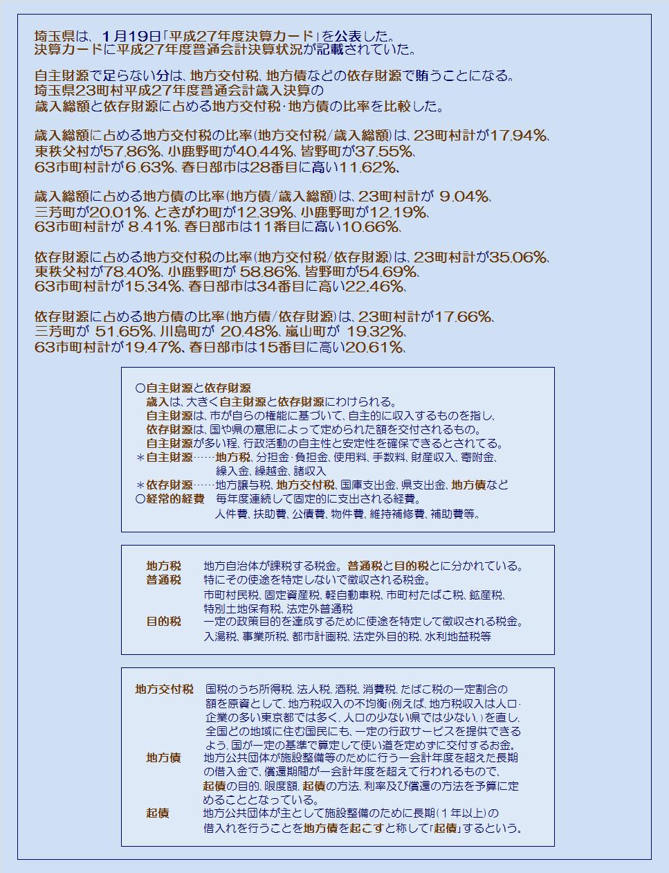 埼玉県23町村平成27年度普通会計決算・依存財源を構成する地方交付税・地方債の歳入総額に占める比率・コメント