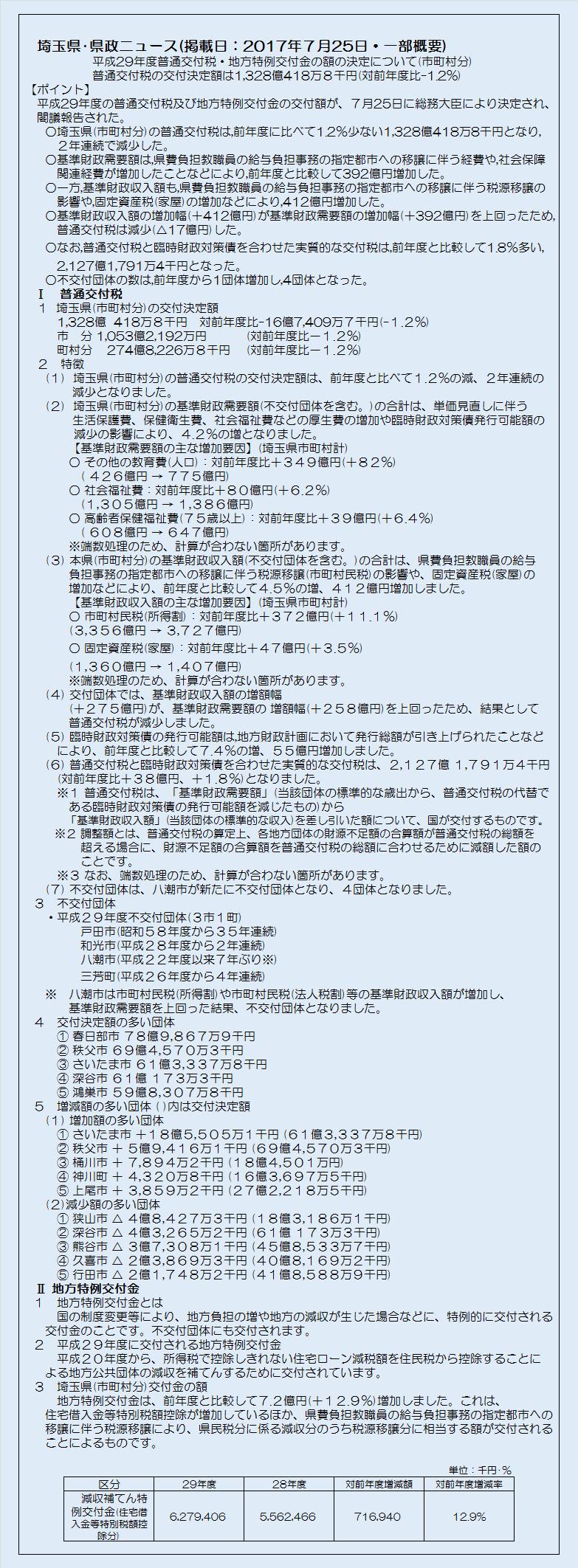 埼玉県市町村分平成29年度普通交付税・地方特例交付金の額の決定について