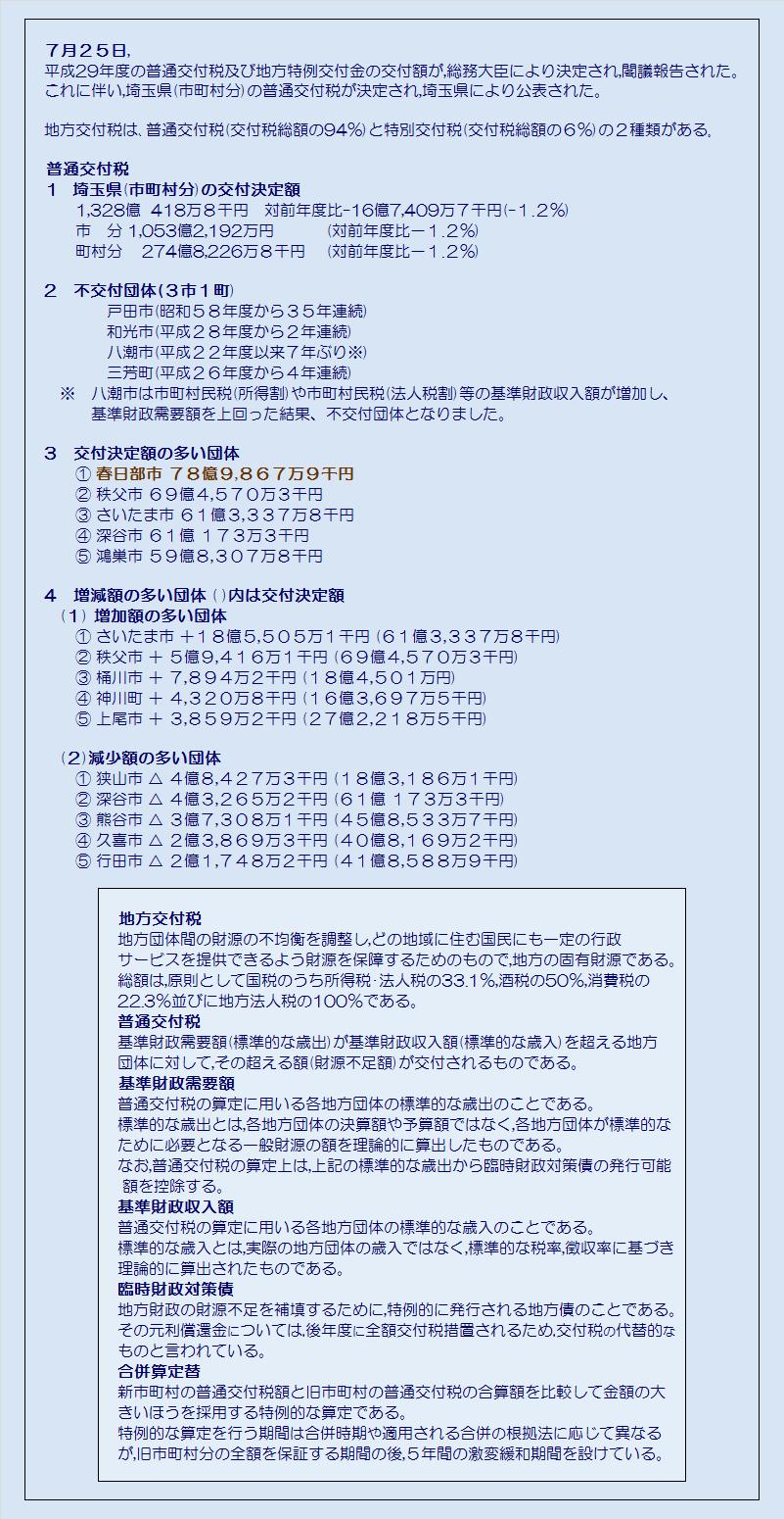 埼玉県市町村平成29年度普通交付税交付決定額・コメント