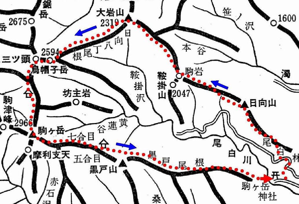 日向八丁尾根~甲斐駒ヶ岳概念図