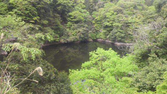 竜神ダム左岸側遊歩道から見える竜神湖