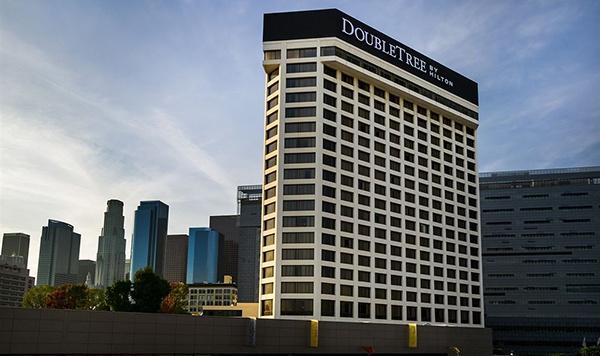 The DoubleTree hotel at 120 S. Los Angeles Street