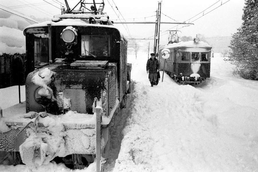 蒲原鉄道 大蒲原駅 吹雪とED1 3 1983年2月 16bitAdobeRGB原版 take1b2