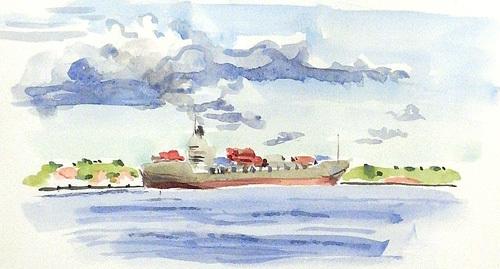 東京湾をゆく船-21