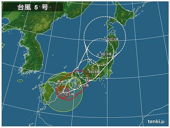 台風5号ノルー