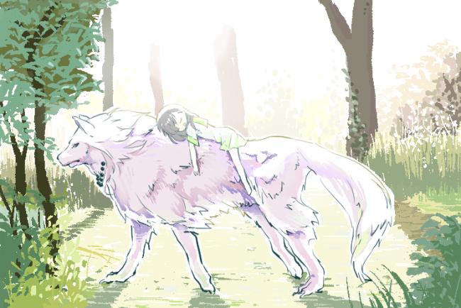 大きい犬夜叉と小さいかごめちゃんと朝のお散歩 小
