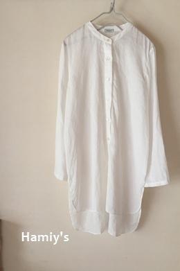 スタンドカラーのシンプルシャツ 1