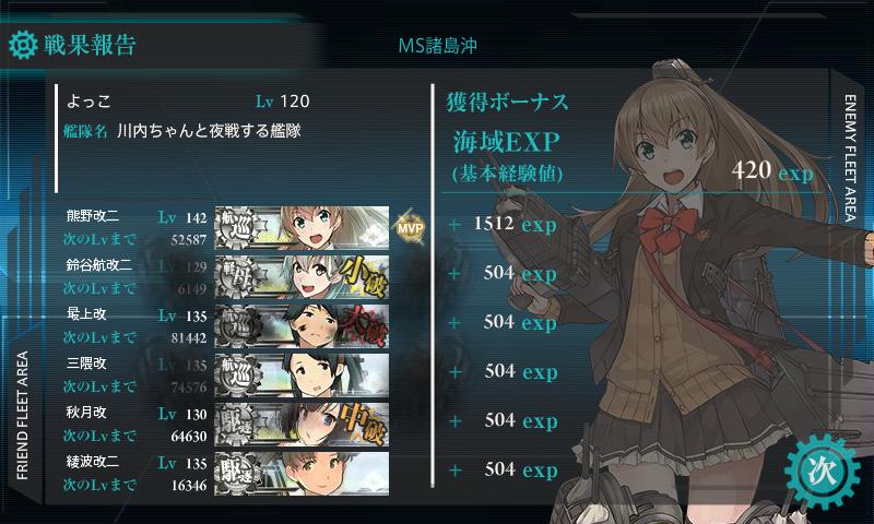 熊野改二任務6-2戦果