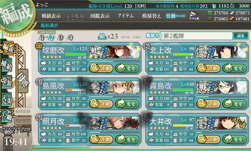 17夏E-3戦力第二艦隊