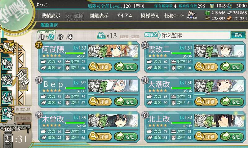 17夏E-6戦力第二艦隊