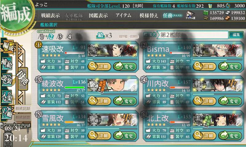 17夏E-7第二艦隊