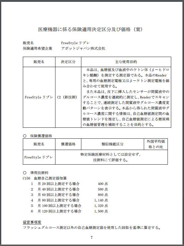 リブレ保険適用決定区分及び価格(案)20170828中医協1
