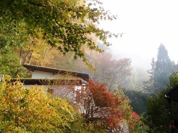 朝霧と石積みの離れ