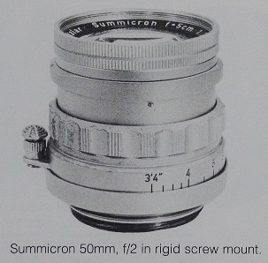 Leica Summicron 50mm f2 rigid screw mount