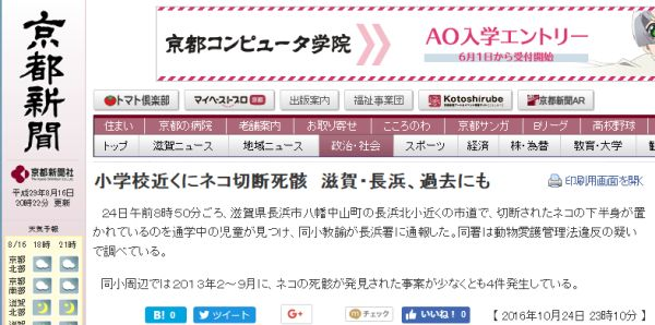 600 2016年10月24日 滋賀県長浜市 小学校近く猫切断 京都新聞