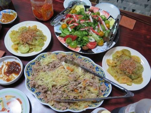 パパヤーチャンプルー,フライドグリーントマト,カニカマサラダ