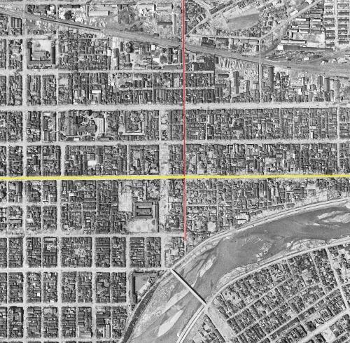 空中写真1948年米軍 国道12号×東8丁目通り