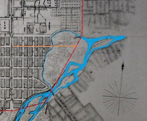 明治22年札幌市街之図 再掲 札幌市街境界