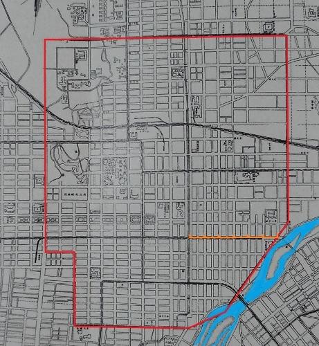 旧市史 開拓初期札幌市街区域図 再掲 境界線着色