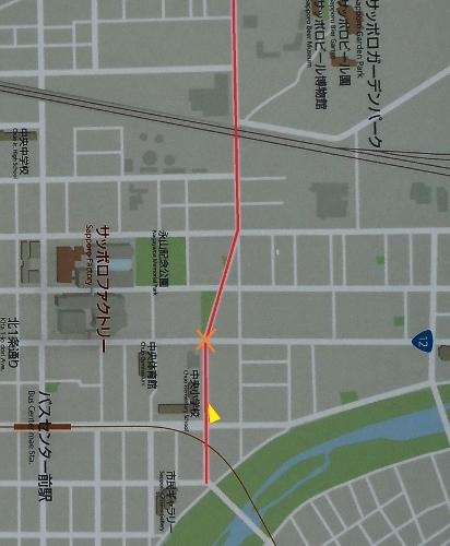 東8丁目篠路通り 現在図 中央小学校付近