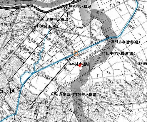 河川網図 厚別川下流 旧河道