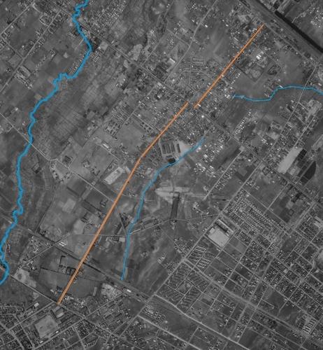 空中写真 1961年 連隊通り、望月寒川