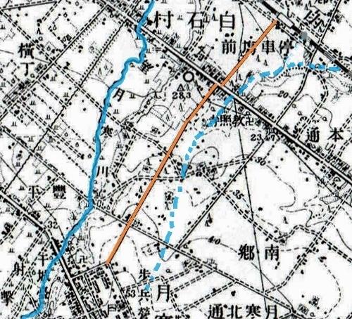 大正5年地形図 連隊通り 望月寒川
