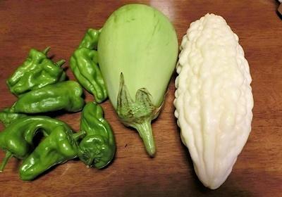 野菜Sさん白ナス、白いニガウリ