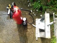 訓練用水消火器 コンプレッサによる圧充填 小林消防設備