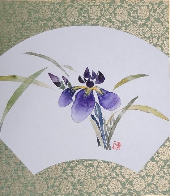 61かきつばた松本美雪色紙4