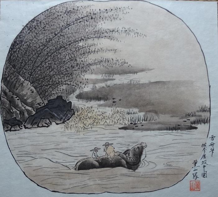 8牧童河を渡る雪舟