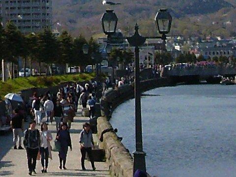 小樽運河は人でいっぱい