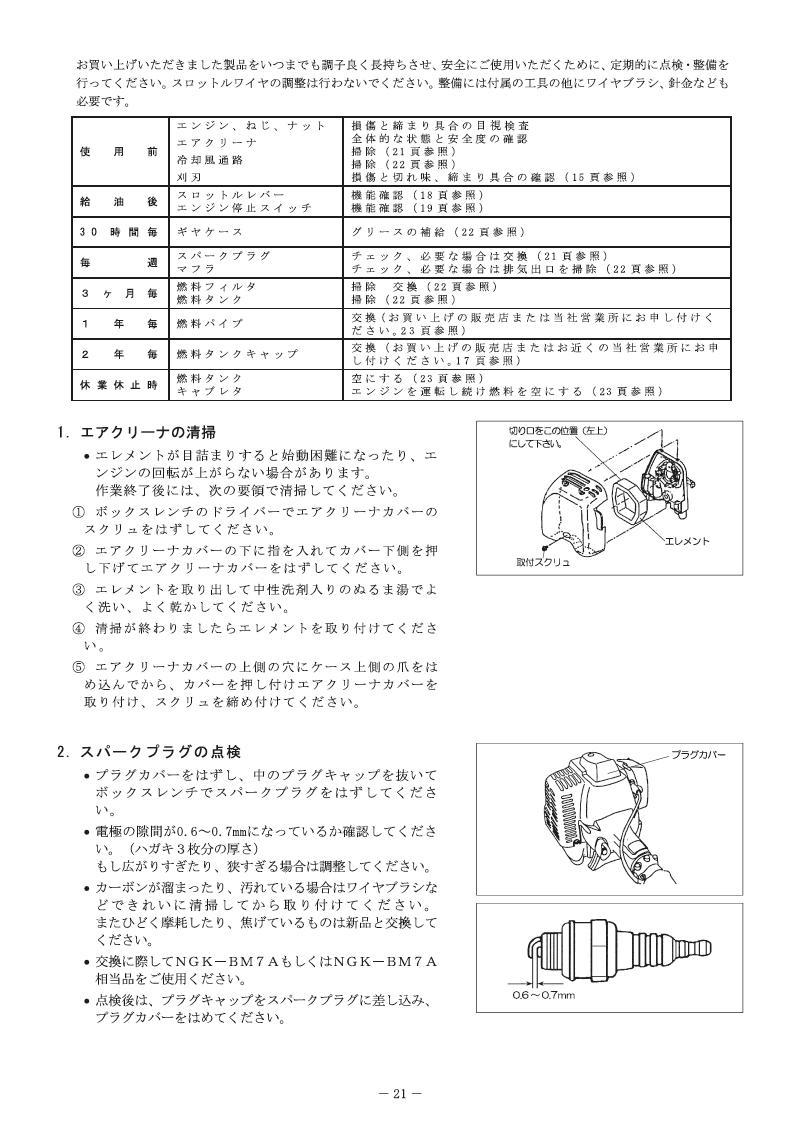 エンジン刈払機 MAKITA MEM302T マニュアル-21
