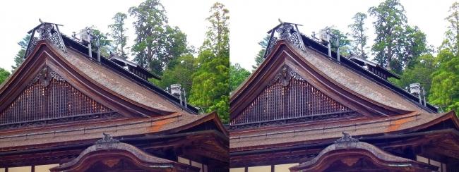 金剛峯寺 主殿 檜皮葺の屋根・天水桶(平行法)